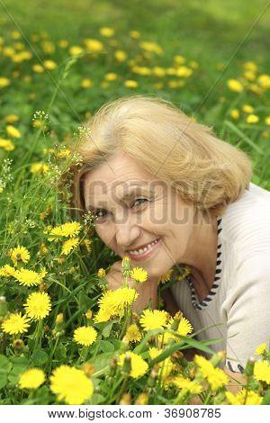 Beautiful lady enjoys union with nature