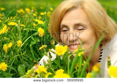 Magnificent lady enjoys union with nature