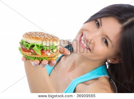Woman With Tasty Fast Food Unhealthy Burger Sandwich
