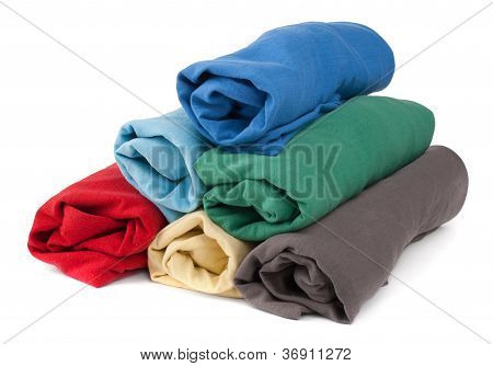 Stack of rolled clothes