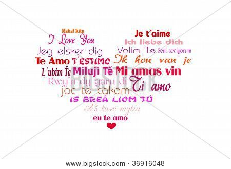 Multilingual heart Vector