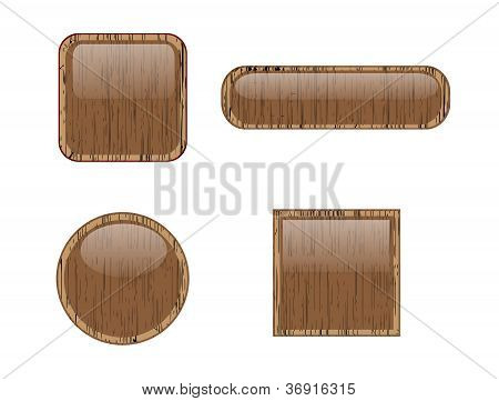 Design with wooden buttons Vector