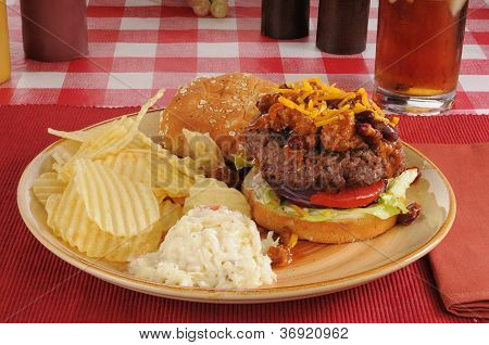Chili Cheeseburger With Chips And Coleslaw