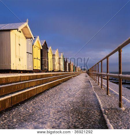 Beach Huts In Snow
