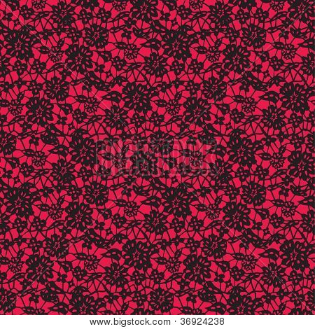 Black Lace  On Red Background