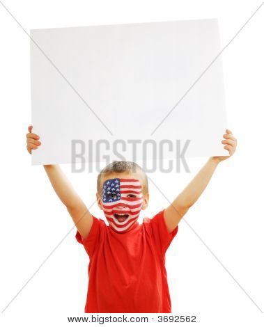 Young Boy Holding The Blank White Paper Poster