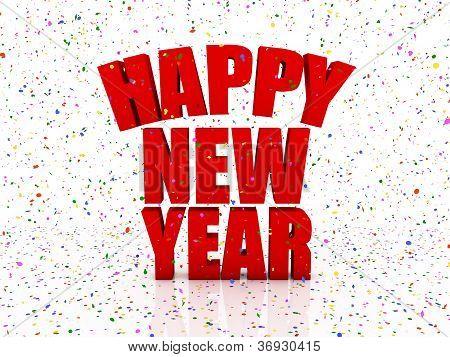 Happy Nex Year And Confetti