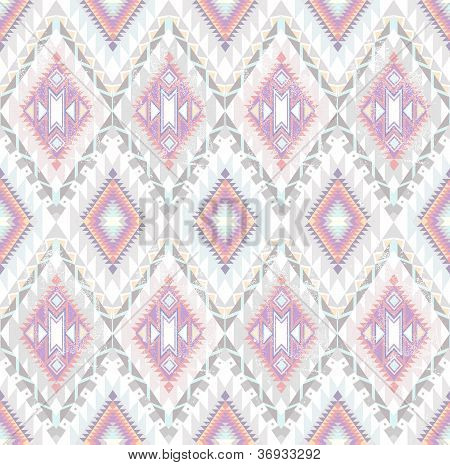 Abstract Geometric Seamless Aztec Pattern. Colorful Ikat Style Pattern.