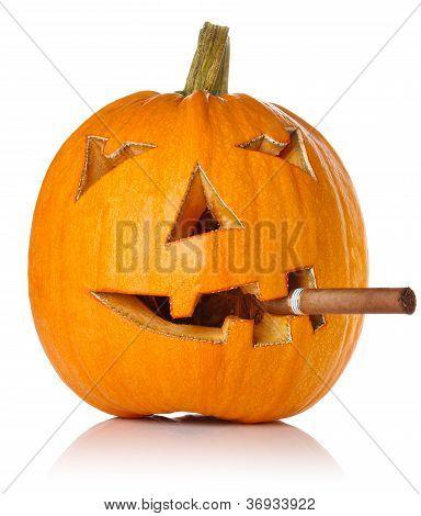 Halloween Pumpkin.scary Jack O'lantern Smoke Cigar