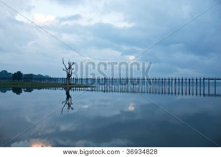 Famous U-bein Teak Bridge, Myanmar
