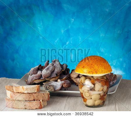 Mushrooms Inside A Jar