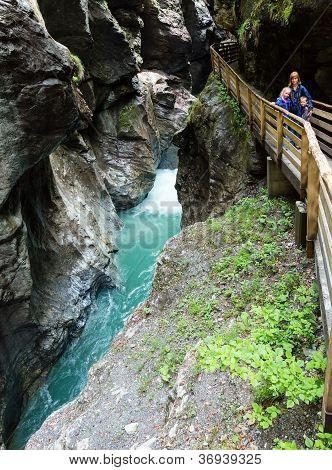 Family And Liechtensteinklamm Gorge  (austria).