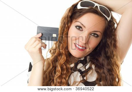 Close-up Portrait Of Young Shopping Female Holding Credit Card Isolated On White Background