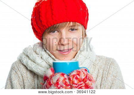 Retrato de menino em estilo de Inverno