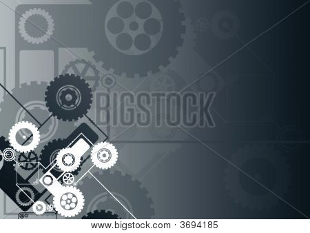 Horizontal Black Technological Background