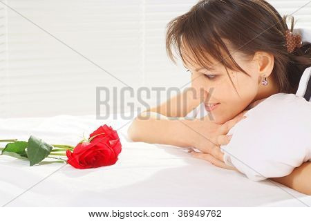 Good-looking woman is resting