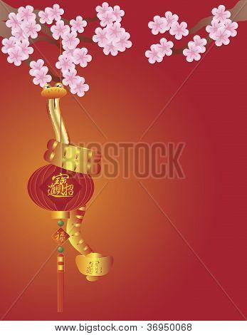 Cobra na lanterna chinesa e ilustração de flor de cerejeira