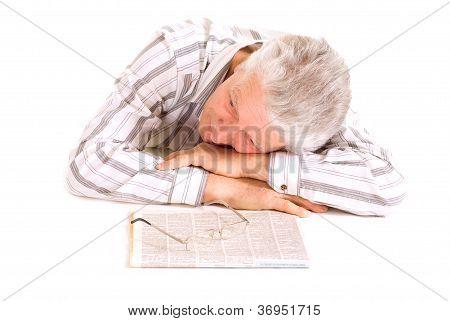 Sleeping eldery senior