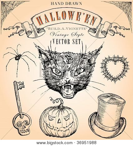 Vintage Style Halloween Vector Set