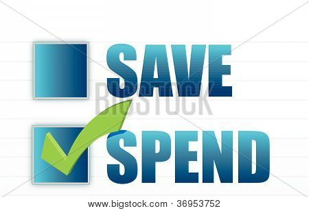 save vs spend checkmark selection illustration design