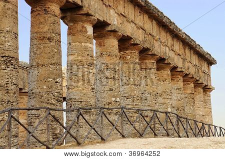 The colonnade of the greek temple of Segesta in Sicily