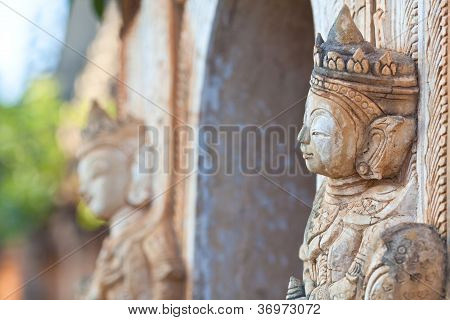 Statue at Inn Thein Paya in Shan state, Myanmar
