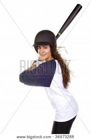 Woman Baseball or softball Player at bat