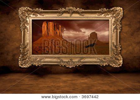 Monument Valley Panorama in einem Frame Vintage boroque