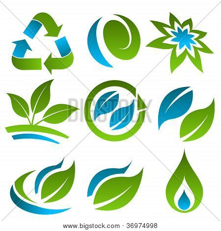 Green and Blue Energy Saving Icons