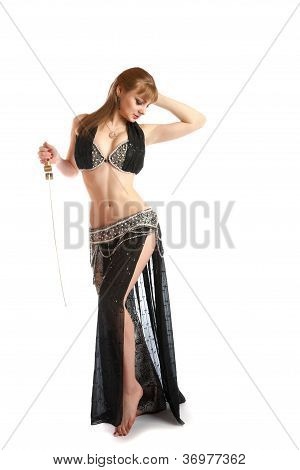 The Girl In A Dancing Suit With Sabre On  White Background