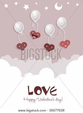 Flying Hearts on Balloons