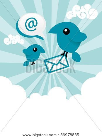 Blue Email Birds