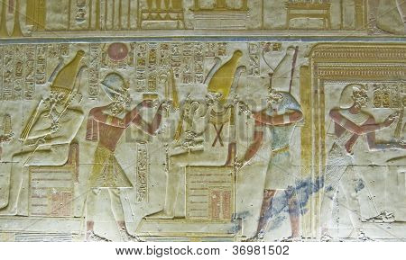 Seti with Osiris Bas Relief