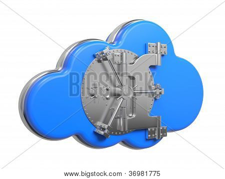 Cloud with Safe Door. Computing Concept.