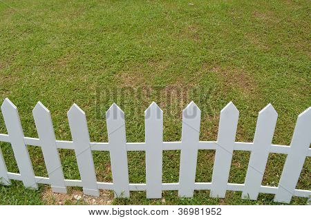 Lawn with a white wooden fence