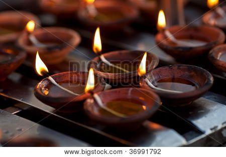 Candles at Shwedagon Paya, Burma