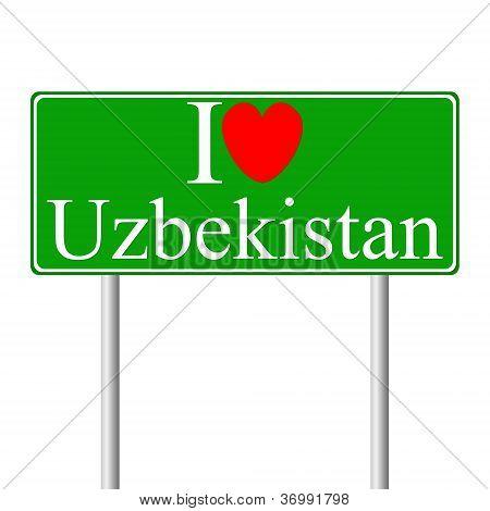 I love Uzbekistan, concept road sign