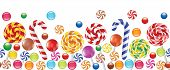 picture of bonbon  - colorful candies fruit bonbon lollipop seamless horizontal background - JPG
