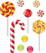 stock photo of lollipops  - Vector set with different candies and lollipop - JPG