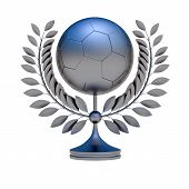 stock photo of bronze silver gold platinum  - Silver soccer ball bronze prize 3d object illustration - JPG