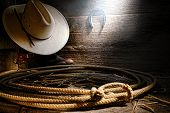 American West Rodeo Cowboy Lariat Lasso In Barn
