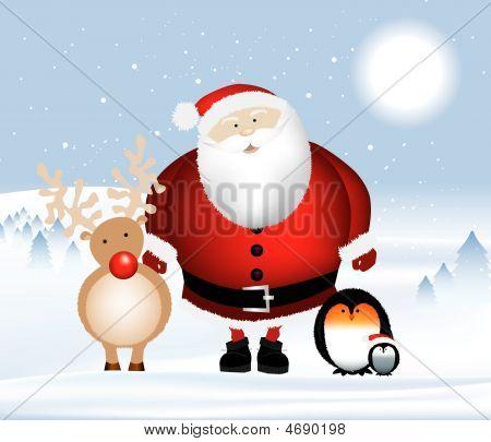 Santa And Penguins