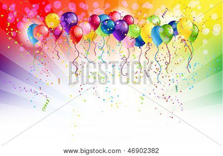 Multicolored background and balloons with space for text