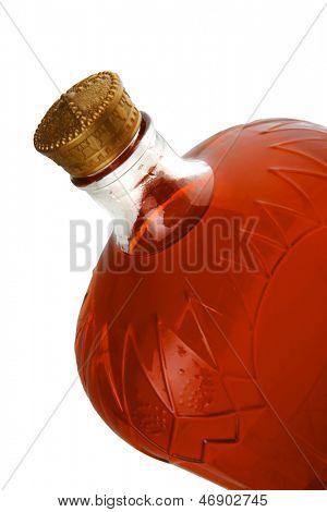 old red dry light wine botlle over white