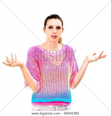 Clueless young woman against a white background