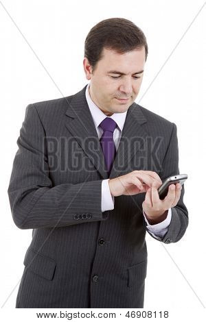 young business man looking worried to his phone, isolated