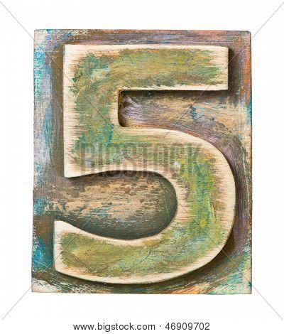 Wooden alphabet block, number 5