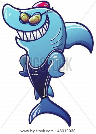 Athletic swimmer shark smiling and posing
