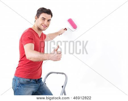 Worker Painter With Brush  Showing Thumbs Up Sign