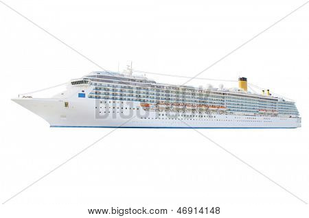 Cruise ship isolated under the white background